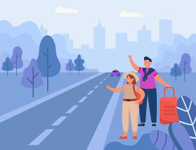 Hombre y mujer haciendo autostop en la carretera ilustración plana