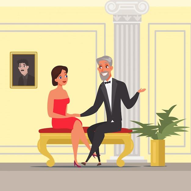 Hombre y mujer con ilustración de fecha. esposa y esposo en teatro, ópera, opereta. interior de la sala de cine de lujo. pareja sentada y hablando de personajes de dibujos animados, personas en eventos vip