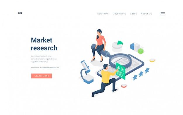 Hombre y mujer investigando el mercado en línea. ilustración
