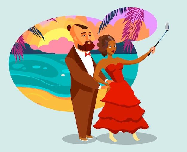 Hombre y mujer en la isla tropical