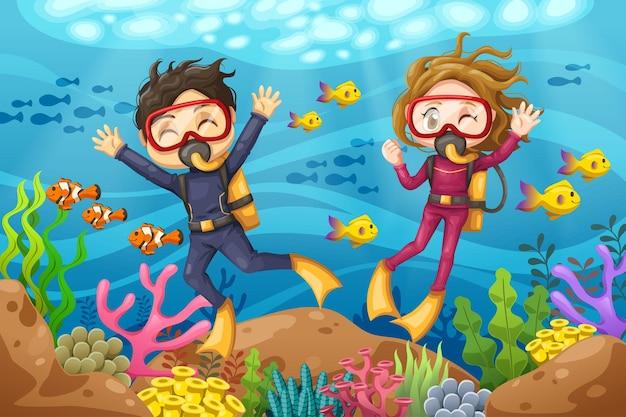 Hombre y mujer joven buceador con máscara se sumerge bajo el mar