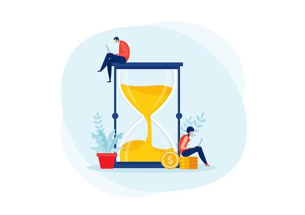 Hombre y mujer joven con laptop en reloj de arena, horas de trabajo, reloj de arena de gestión del tiempo.flat