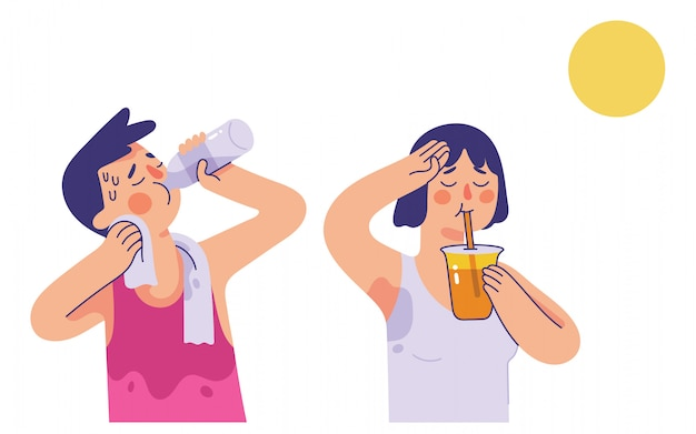 Hombre y mujer jóvenes bebiendo agua y jugo de naranja en días muy calurosos de verano