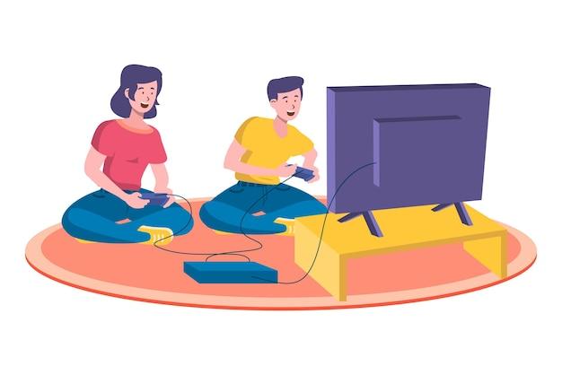 Hombre y mujer jugando ilustración de videojuegos