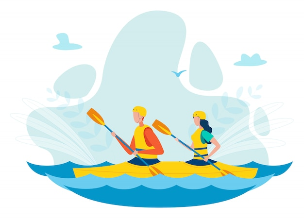Hombre y mujer kayak plana