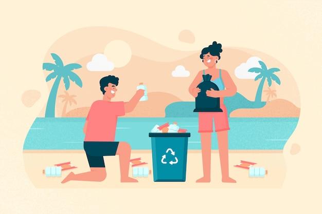 Hombre y mujer, limpieza, playa, ilustración