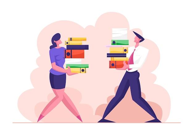 Hombre y mujer llevan gran montón de documentos ilustración de archivos