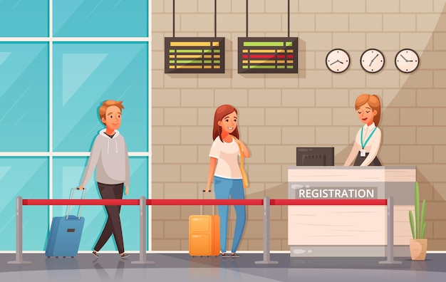 Hombre y mujer con maletas cerca del mostrador de registro en el aeropuerto