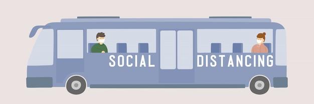 El hombre y la mujer con máscara en el autobús mantienen distancia al brote de protección covid-19, cartel de concepto de distanciamiento social o ilustración de diseño de banner social en el fondo con espacio de copia