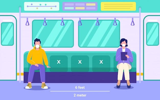 Hombre y mujer con una máscara en concepto de ilustración de transporte público, las personas con máscara médica mantienen distancia física para evitar covid 19,