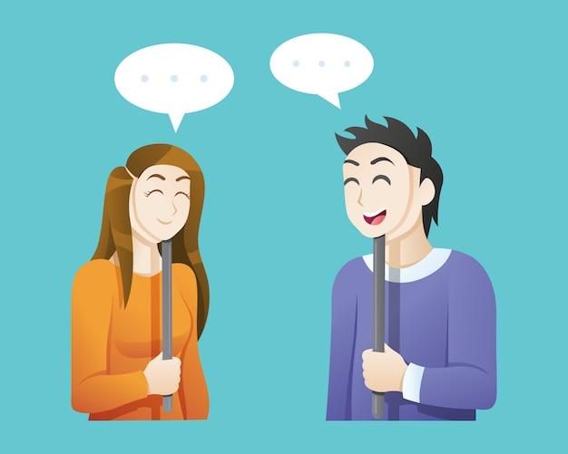 Hombre y mujer con máscaras felices
