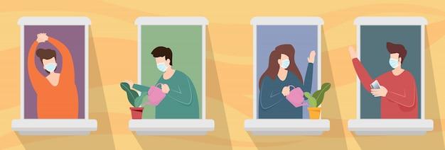 Hombre y mujer con mascarilla de pie en el condominio de windows mientras mira fuera de cuarentena las personas se quedan en casa como distanciamiento social para protegerse del brote de coronavirus covid-19. vector.