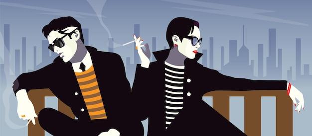 El hombre y la mujer de moda en estilo pop art en nueva york.