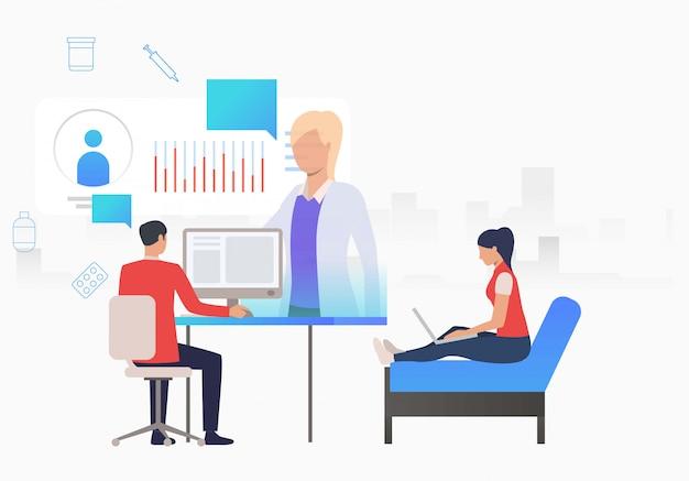 Hombre y mujer navegando por internet para el sitio web médico