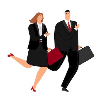 Hombre y mujer de negocios corriendo