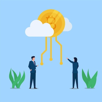 El hombre y la mujer de negocios miran la moneda criptográfica en la metáfora de la nube de la criptomoneda.