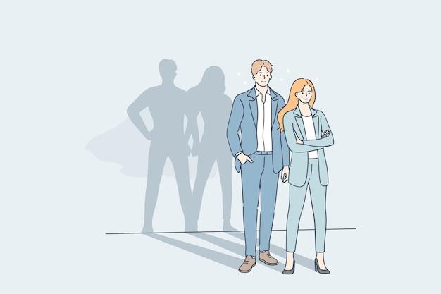 Hombre y mujer de negocios de pie junto con el gran héroe superman