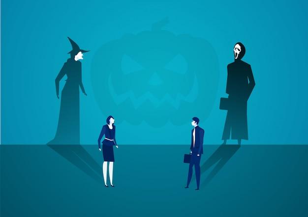 El hombre y la mujer de negocios proyectando sombras se convierten en brujas con el concepto fantasma.