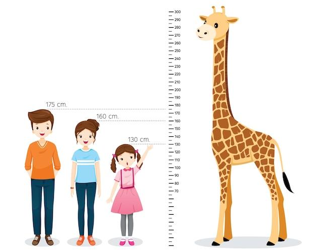 Hombre, mujer, niña midiendo altura con jirafa