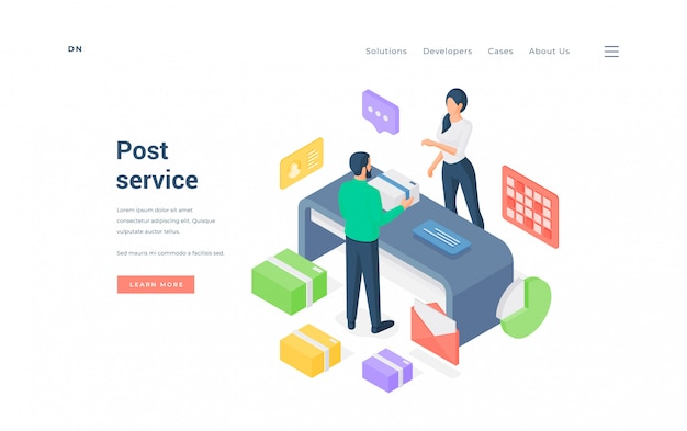 Hombre y mujer en la oficina de correos. ilustración