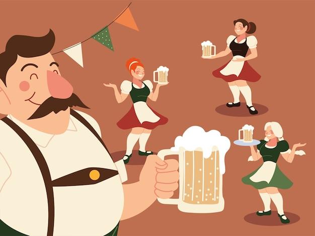Hombre y mujer de oktoberfest con ilustración de cerveza de tela tradicional, tema de celebración y festival de alemania