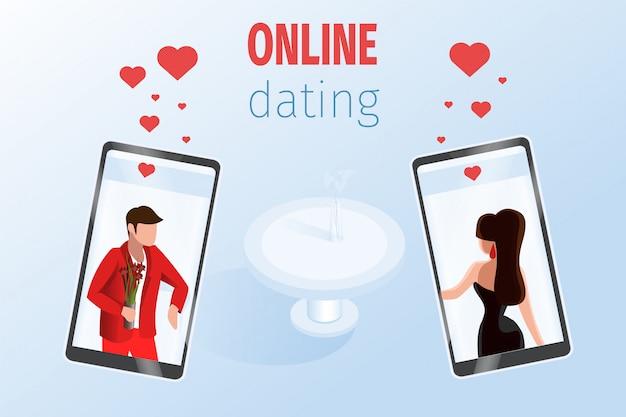Hombre mujer en la pantalla del teléfono cerca de la mesa del restaurante