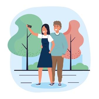 Hombre y mujer pareja junto con teléfono inteligente