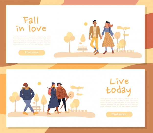 Hombre mujer personaje disfruta otoño encabezado banner set