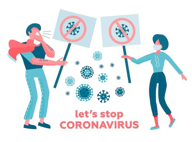 Hombre, mujer, personajes en máscaras médicas con carteles que rechazan el virus. concepto de prevención de enfermedades.