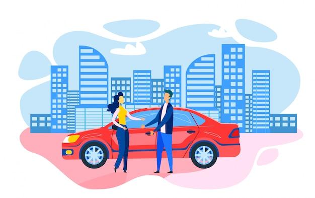 Hombre mujer de pie cerca de un coche estacionado, caricatura