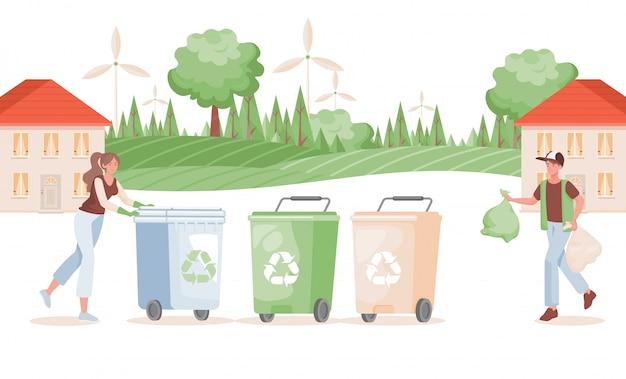 Hombre y mujer poniendo basura en la ilustración de contenedores. concepto de clasificación y reciclaje de residuos.