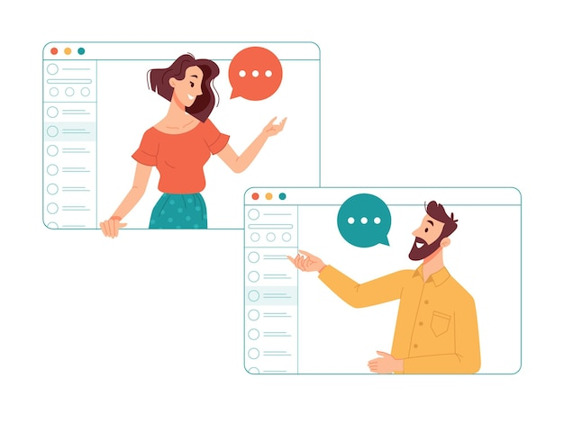 Hombre y mujer que se comunican en línea a través de internet mediante la aplicación de videollamadas amigos hablando