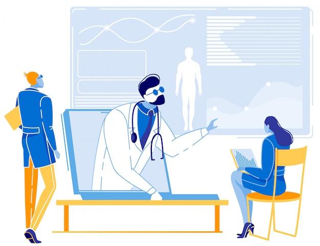 Hombre y mujer que tienen consulta médica en línea