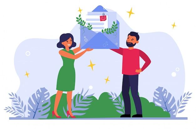 Hombre y mujer recibiendo carta de agradecimiento