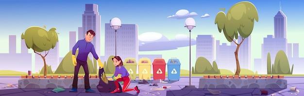 Hombre y mujer recogen basura en un jardín público y la ponen en contenedores de reciclaje ilustración de dibujos animados