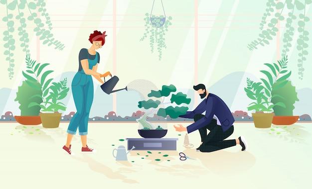 Hombre y mujer regando árboles en maceta ilustración