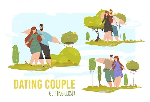 Hombre y mujer relaciones románticas, amor conjunto banner