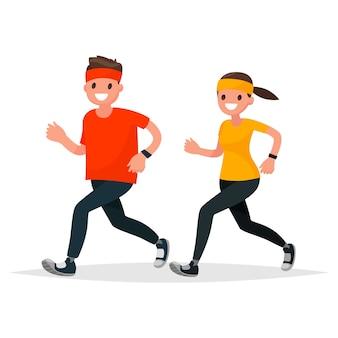Hombre y mujer en ropa deportiva corriendo sobre un fondo blanco.