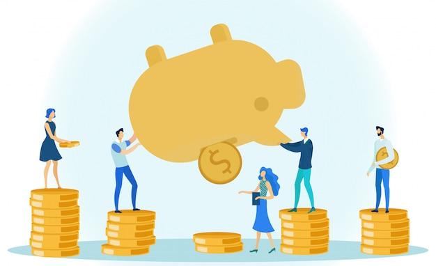 Hombre y mujer sacando dinero monedas hucha.