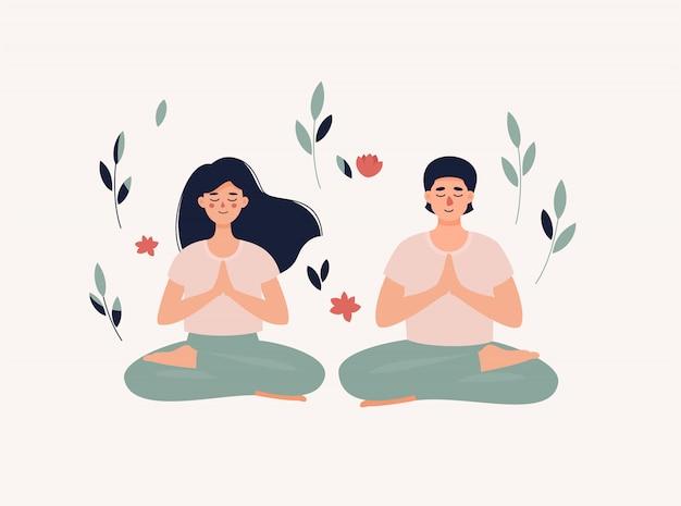 Hombre y mujer sentada en posición de loto con hojas y flores.