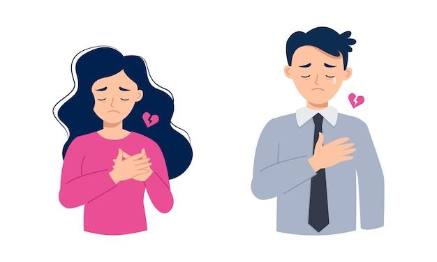 El hombre y la mujer se sienten tristes por el corazón roto y solo.