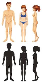 Hombre y mujer, con, silueta, blanco, plano de fondo