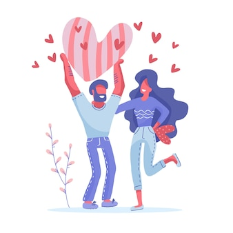 Hombre y mujer sosteniendo grandes corazones rojos. personajes de la tarjeta de felicitación del día de san valentín. concepto de amor y relación. ilustración plana