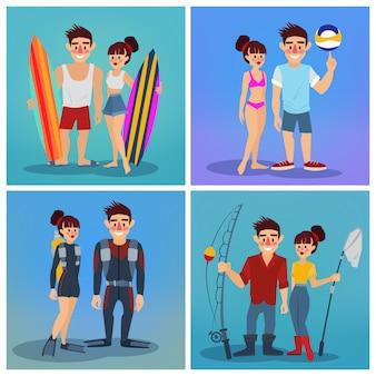 Hombre y mujer con surf. hombre de voleibol