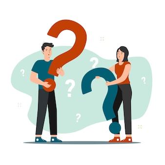 Hombre y mujer, tenencia, signo de interrogación