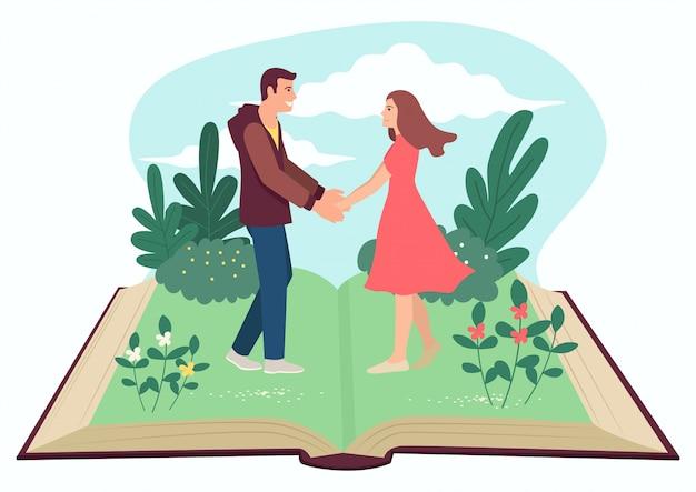 Hombre y mujer tomados de la mano en libro abierto