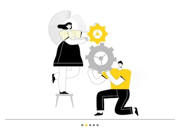 El hombre y la mujer trabajan juntos y sostienen los engranajes del mecanismo empresarial.
