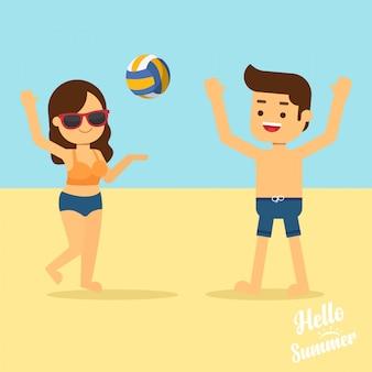 El hombre y la mujer viajan en vacaciones de verano, el hombre y la mujer en traje de baño juegan voleibol en la playa