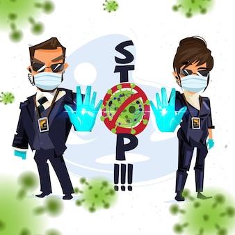 Hombre y mujeres guardaespaldas que muestran la señal de parada para advertir sobre el virus de la parada