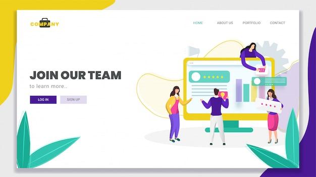Hombre y mujeres de negocios trabajando juntos para mantener el sitio web en la computadora para la página de inicio basada en join our team.